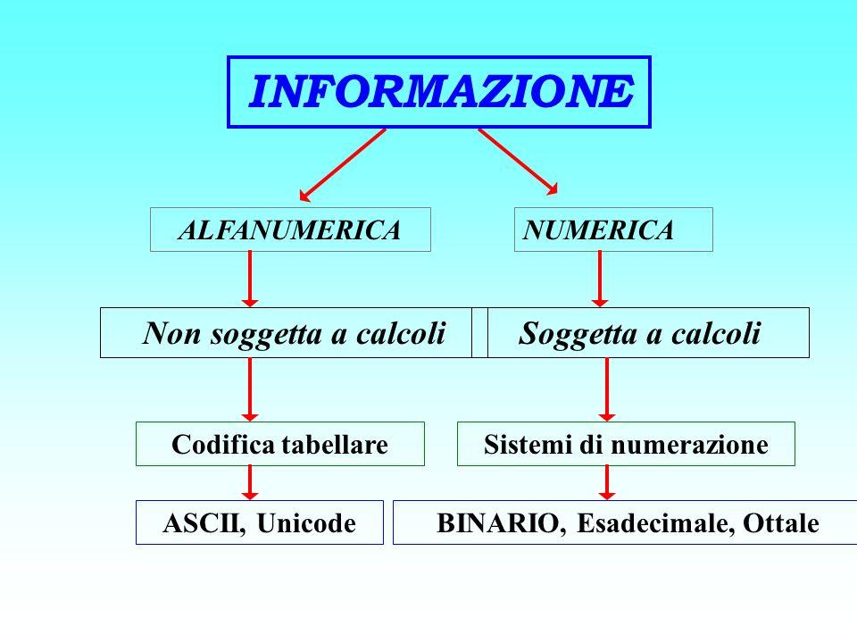 ALFANUMERICANUMERICA Non soggetta a calcoliSoggetta a calcoli Codifica tabellareSistemi di numerazione ASCII, UnicodeBINARIO, Esadecimale, Ottale INFO