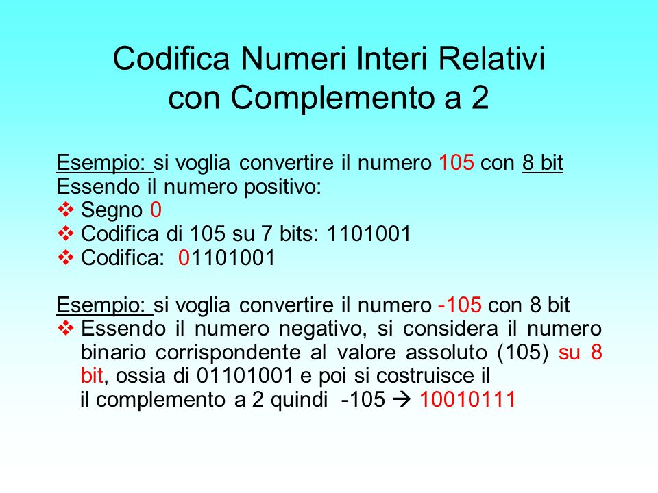 Codifica Numeri Interi Relativi con Complemento a 2 Esempio: si voglia convertire il numero 105 con 8 bit Essendo il numero positivo: Segno 0 Codifica
