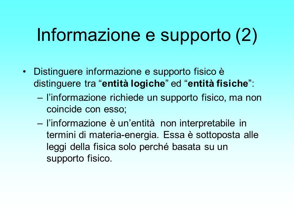 Informazione e supporto (2) Distinguere informazione e supporto fisico è distinguere tra entità logiche ed entità fisiche: –linformazione richiede un