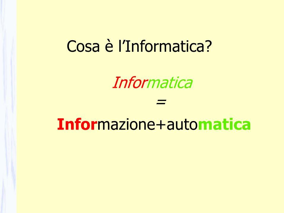 Informatica = Informazione+automatica Cosa è lInformatica?