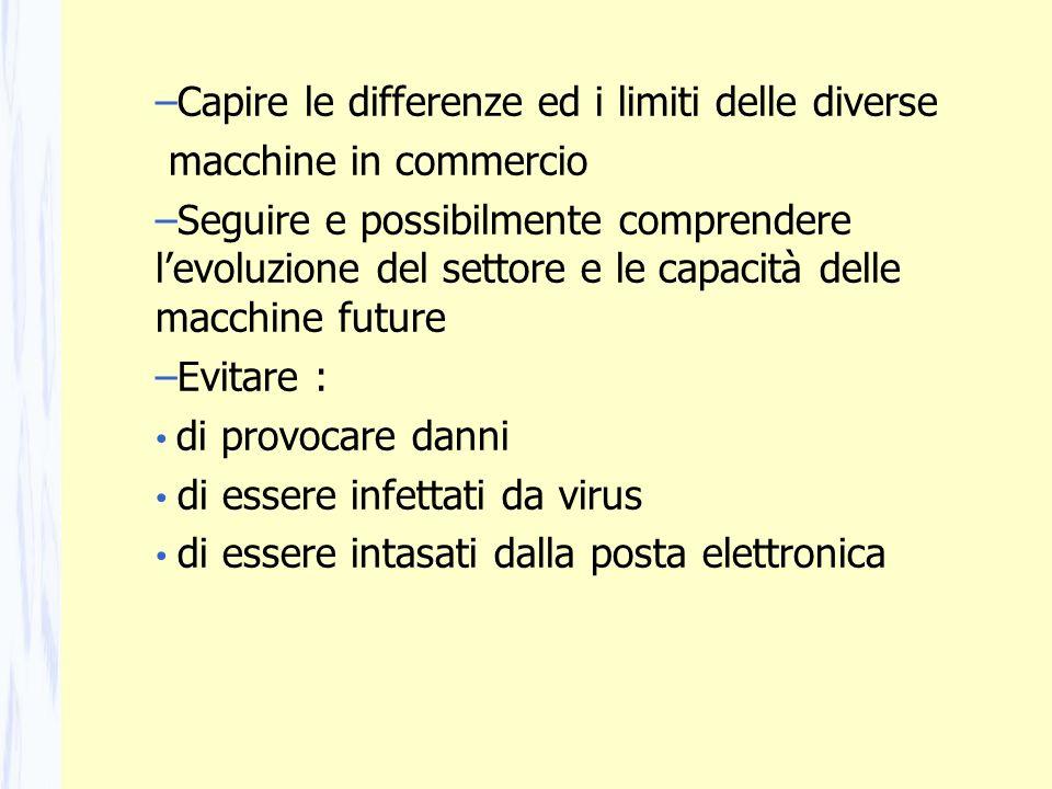 –Capire le differenze ed i limiti delle diverse macchine in commercio –Seguire e possibilmente comprendere levoluzione del settore e le capacità delle