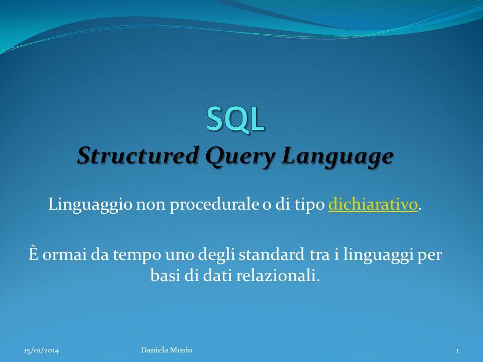 Linguaggio non procedurale o di tipo dichiarativo.dichiarativo È ormai da tempo uno degli standard tra i linguaggi per basi di dati relazionali. 15/01
