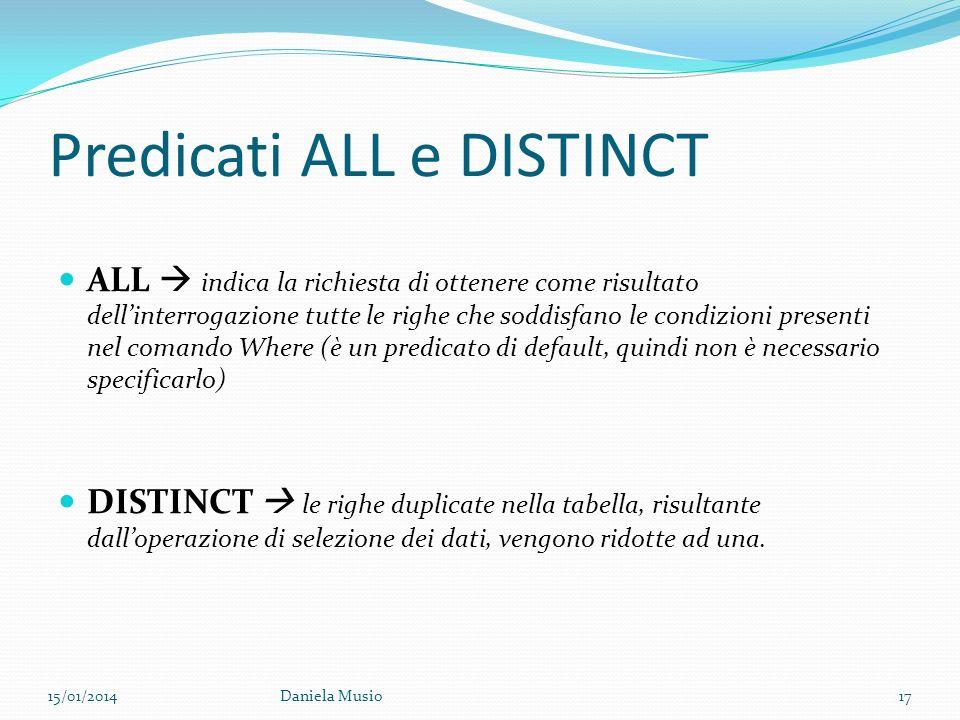 Predicati ALL e DISTINCT ALL indica la richiesta di ottenere come risultato dellinterrogazione tutte le righe che soddisfano le condizioni presenti ne