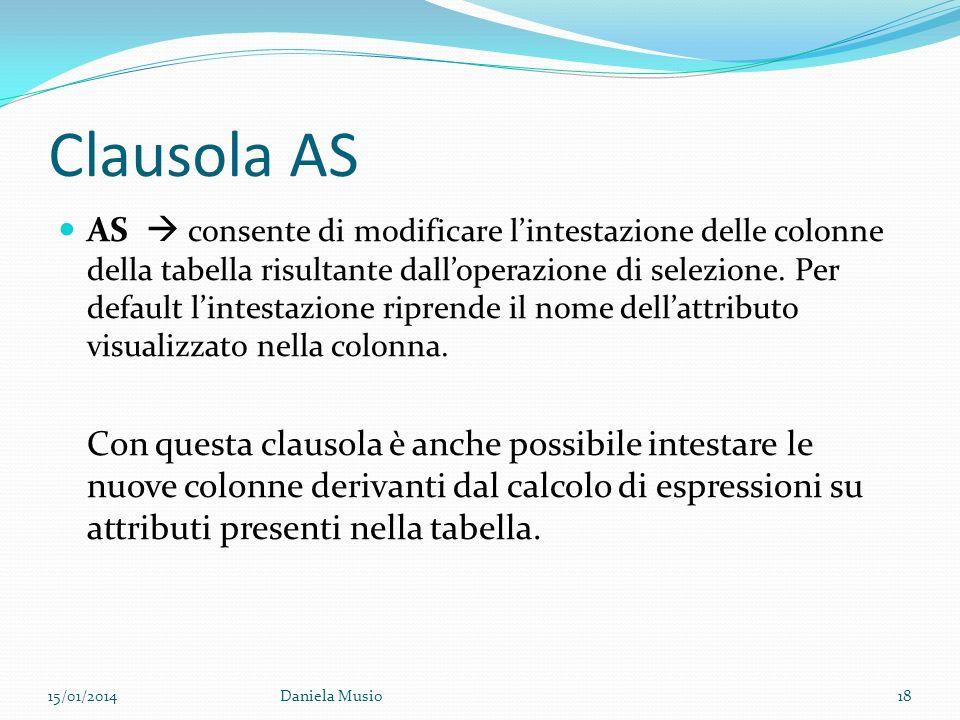 Clausola AS AS consente di modificare lintestazione delle colonne della tabella risultante dalloperazione di selezione. Per default lintestazione ripr