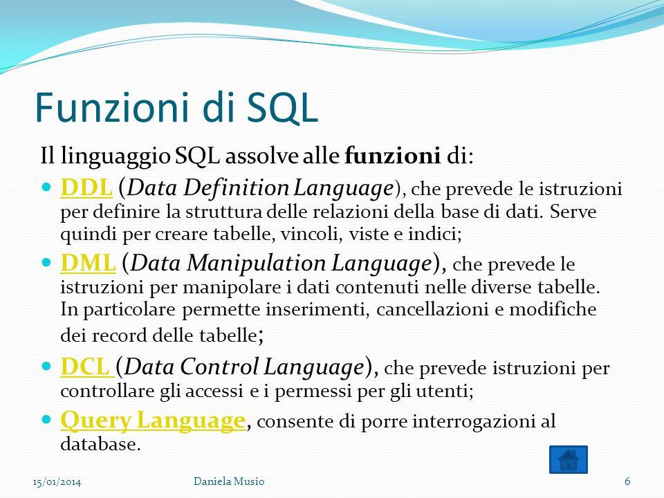 Funzioni di SQL Il linguaggio SQL assolve alle funzioni di: DDL (Data Definition Language ), che prevede le istruzioni per definire la struttura delle