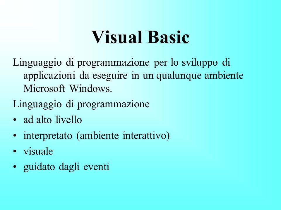 Fine Fase 2: Impostazione proprietà ControlloProprietàImpostazione Form1NamefrmInterruttore CaptionL Interruttore windowsState2-Maximized Label1NamelblNome CaptionInserisci nome ForeColorblu Label2NamelblMessaggio Caption(Vuota) FontAlgerian Text1NametxtNome Text(vuota) Appearance1-3D BackColorrosa BorderStyle 1 - Fixed Single FontArial Black Frame1NamefraColore CaptionColore Testo ForeColorblu