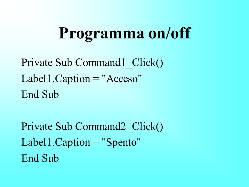 Il mio primo programma Private Sub Command1_Click() Label1.Caption = Buongiorno End Sub