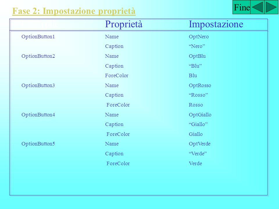 Fine Fase 2: Impostazione proprietà ControlloProprietàImpostazione Form1NamefrmInterruttore CaptionL' Interruttore windowsState2-Maximized Label1Namel