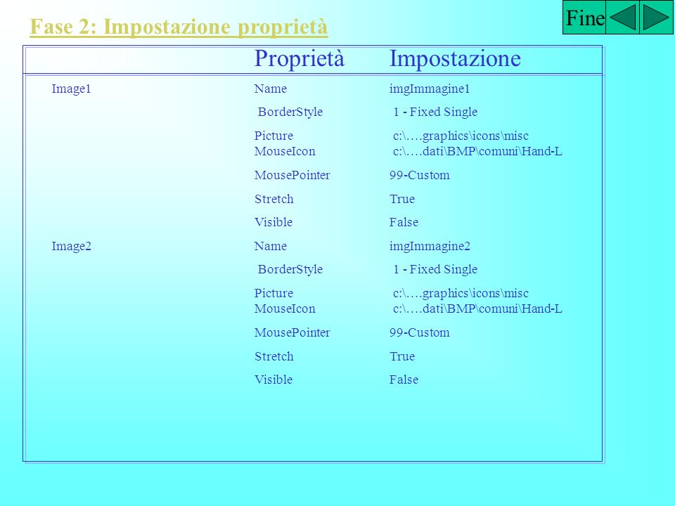 Fine Fase 2: Impostazione proprietà ControlloProprietàImpostazione OptionButton1NameOptNero CaptionNero OptionButton2NameOptBlu CaptionBlu ForeColorBl