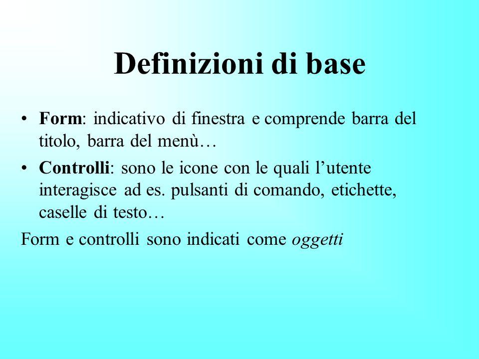 Definizioni di base Form: indicativo di finestra e comprende barra del titolo, barra del menù… Controlli: sono le icone con le quali lutente interagisce ad es.