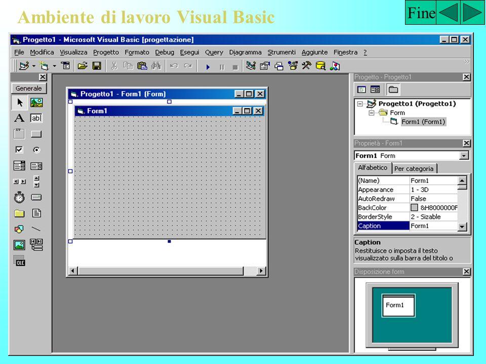 Fase 3: Scrittura del codice di programmazione Fine Private Sub cmdSomma_Click() lblRis.Caption = vVal(txtPrimoNumero.Text) + Val(txtSecondoNumero.Text) End Sub Private Sub cmdSottrai_Click() lblRis.Caption = Val(txtPrimoNumero.Text) – Val(txtSecondoNumero.Text) End Sub Private Sub cmdDividi_Click() lblRis.Caption = Val(txtPrimoNumero.Text) / Val(txtSecondoNumero.Text) End Sub Private Sub cmdMoltiplica_Click() lblRis.Caption = Val(txtPrimoNumero.Text) * Val(txtSecondoNumero.Text) End Sub Private Sub CmdEsci_Click() End End Sub