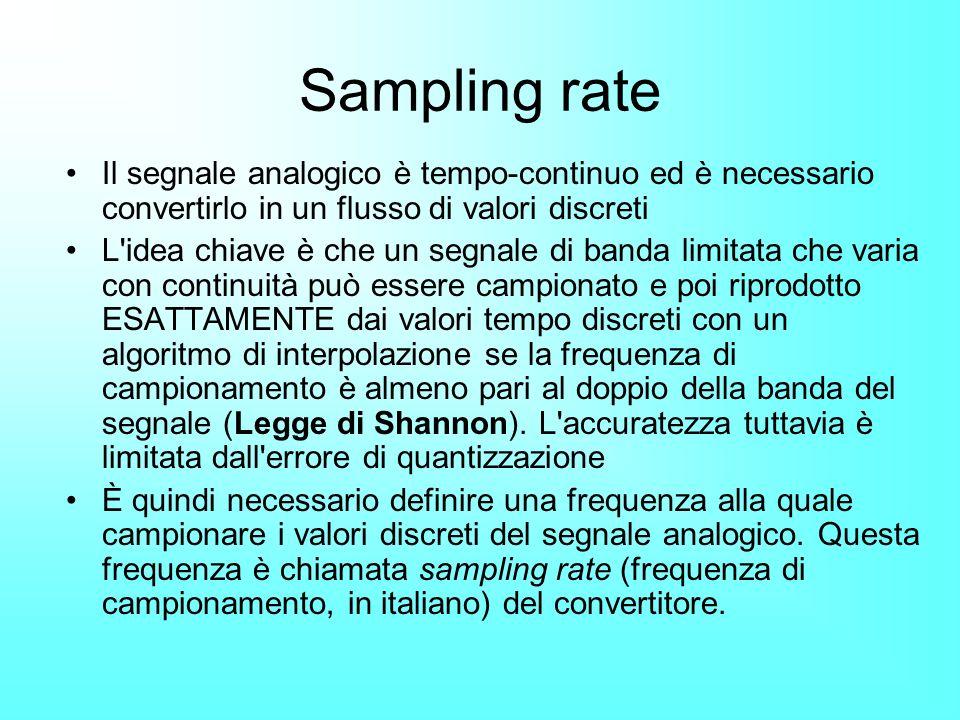 Sampling rate Il segnale analogico è tempo-continuo ed è necessario convertirlo in un flusso di valori discreti L'idea chiave è che un segnale di band