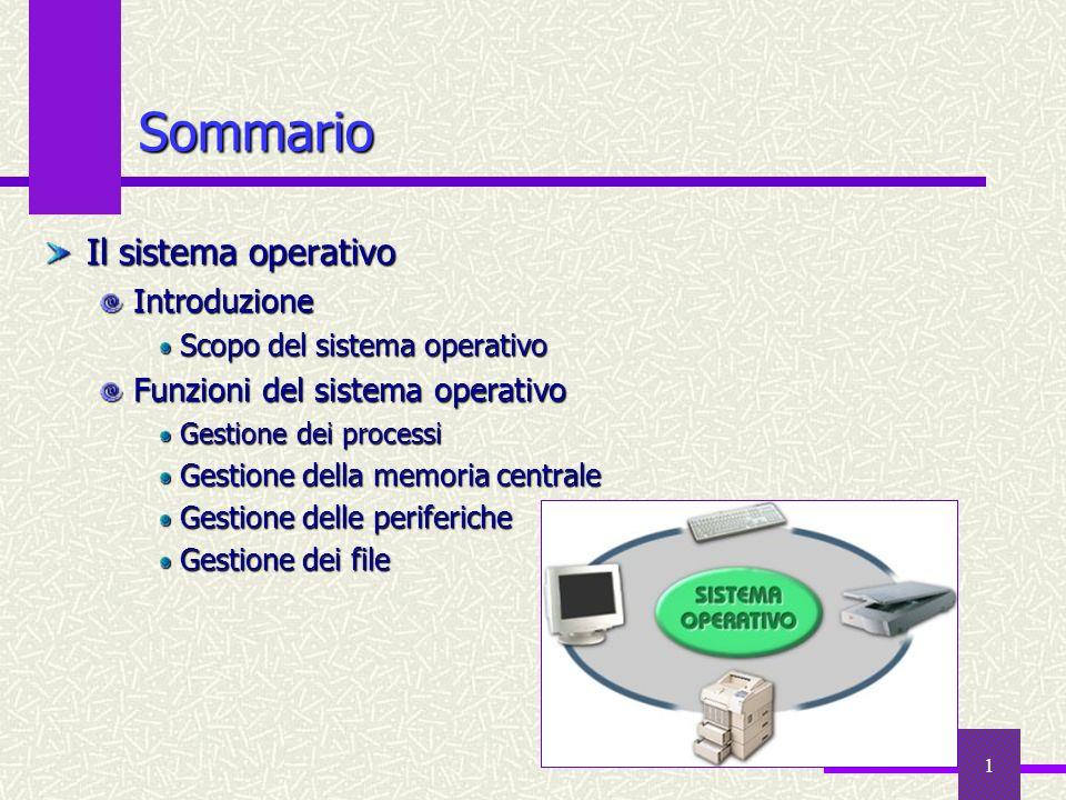1 Sommario Il sistema operativo Introduzione Scopo del sistema operativo Funzioni del sistema operativo Gestione dei processi Gestione della memoria c