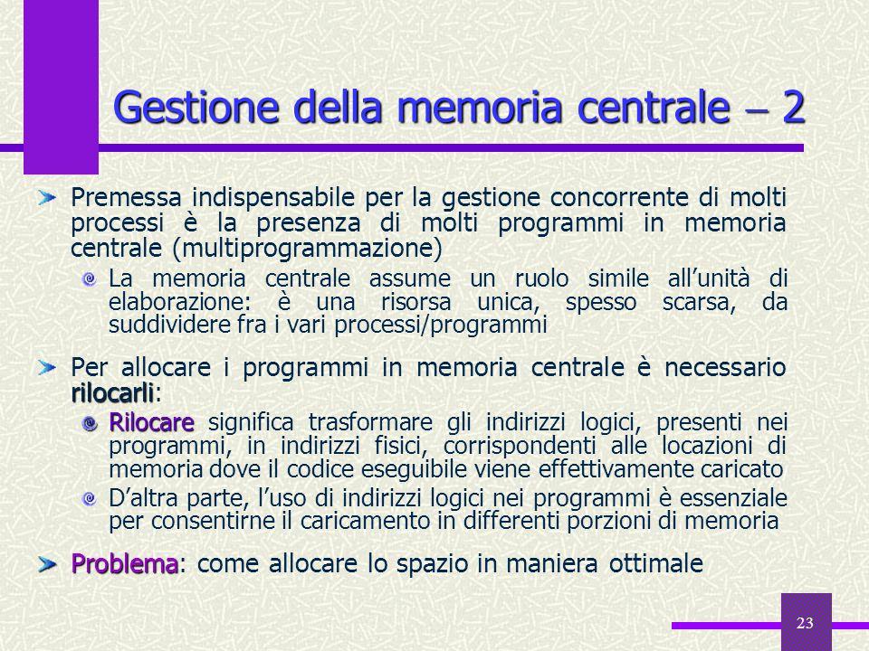 23 Gestione della memoria centrale 2 Premessa indispensabile per la gestione concorrente di molti processi è la presenza di molti programmi in memoria