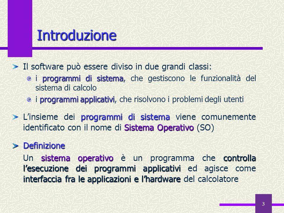 3 Introduzione Il software può essere diviso in due grandi classi: programmi di sistema i programmi di sistema, che gestiscono le funzionalità del sis
