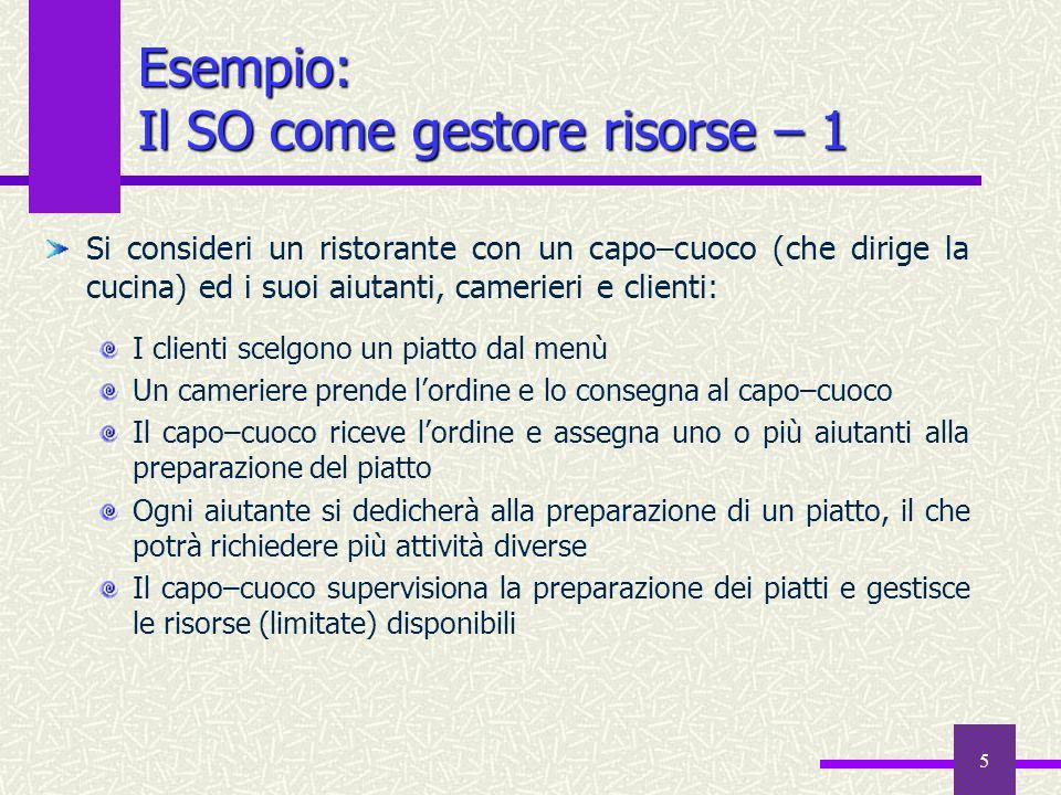 6 Esempio: Il SO come gestore risorse – 2 Il capo–cuoco è il sistema operativo.