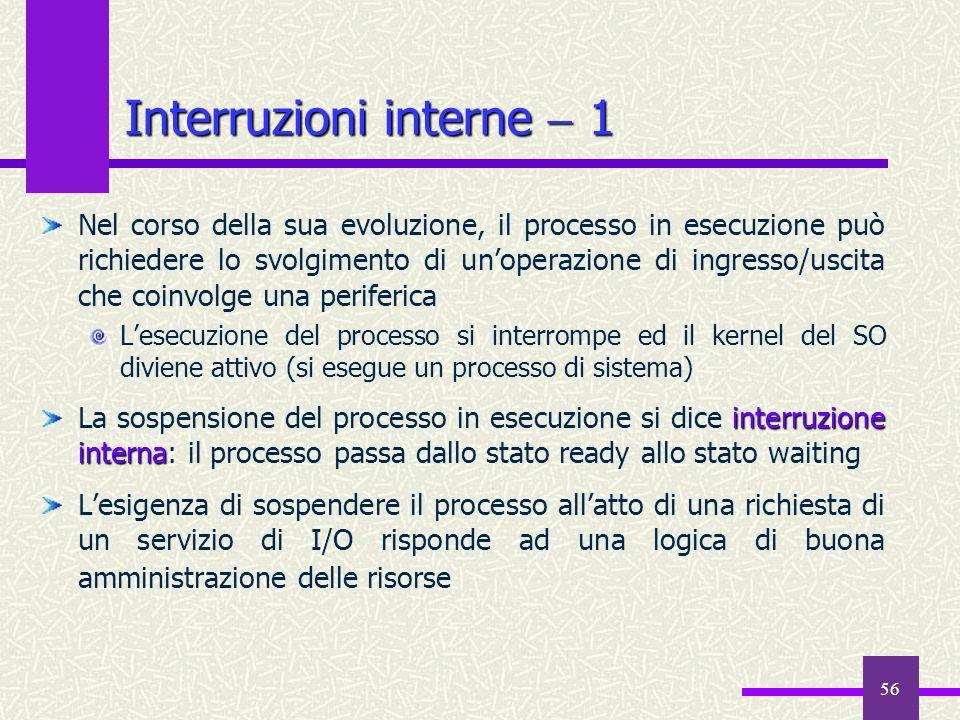 56 Interruzioni interne 1 Nel corso della sua evoluzione, il processo in esecuzione può richiedere lo svolgimento di unoperazione di ingresso/uscita c