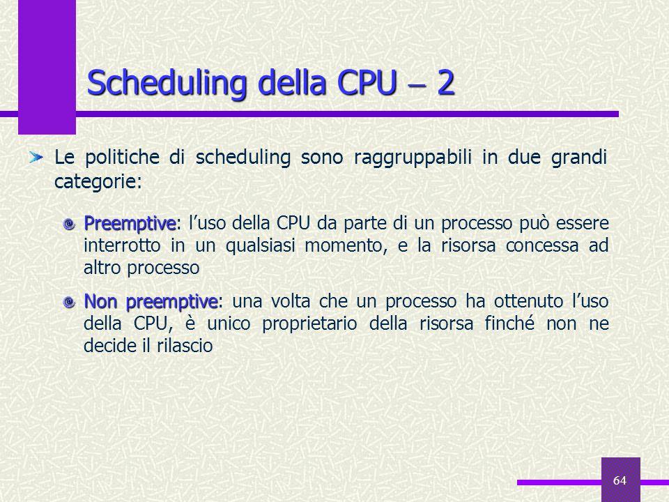 64 Le politiche di scheduling sono raggruppabili in due grandi categorie: Preemptive Preemptive: luso della CPU da parte di un processo può essere int