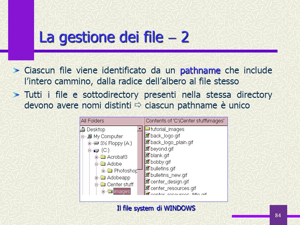 84 La gestione dei file 2 pathname Ciascun file viene identificato da un pathname che include lintero cammino, dalla radice dellalbero al file stesso