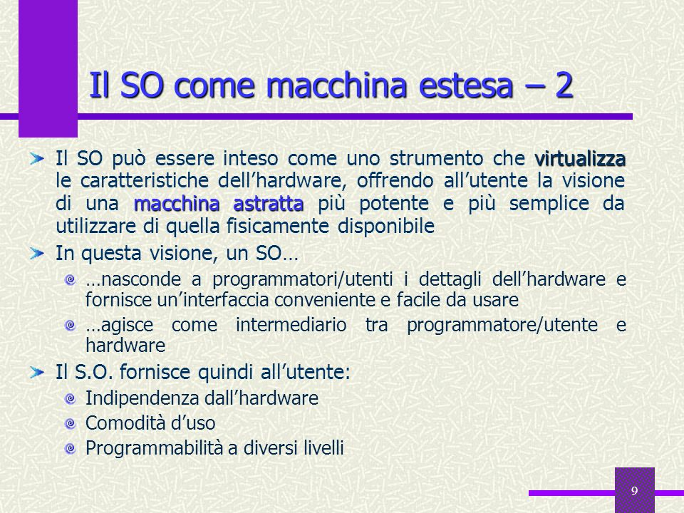 40 Traduzione degli indirizzi La traduzione degli indirizzi logici in indirizzi fisici è effettuata dalla MMU (Memory Management Unit), componente HW nella CPU.
