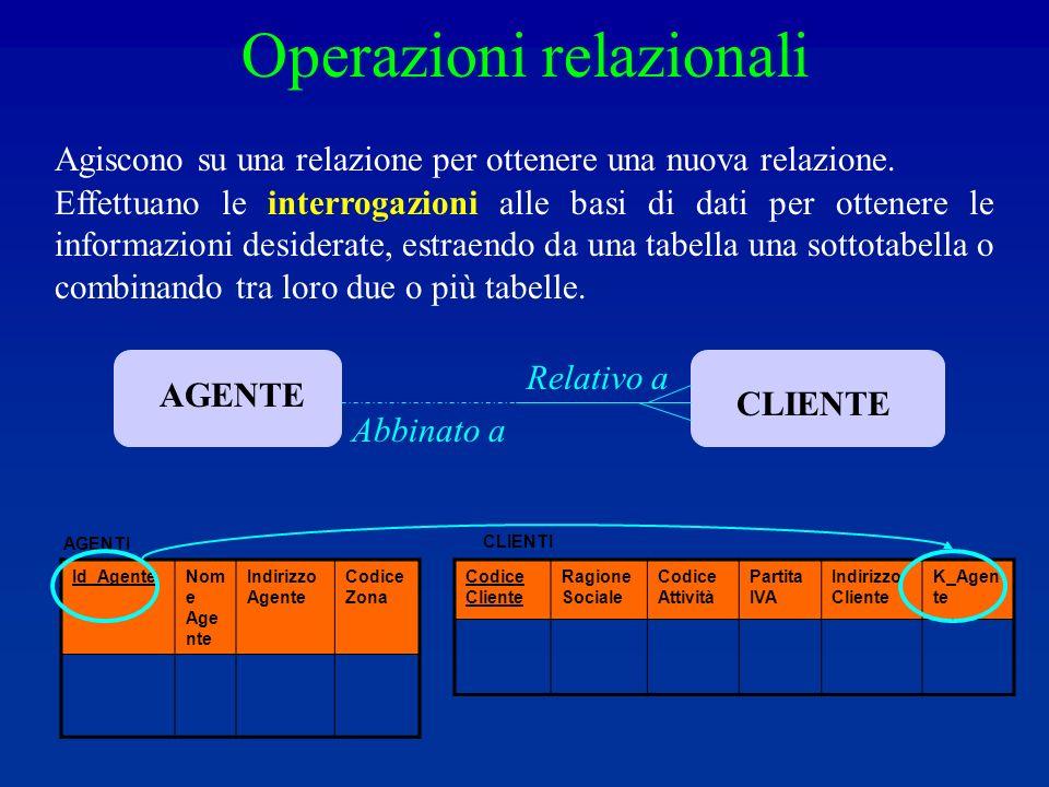 Operazioni relazionali Agiscono su una relazione per ottenere una nuova relazione.