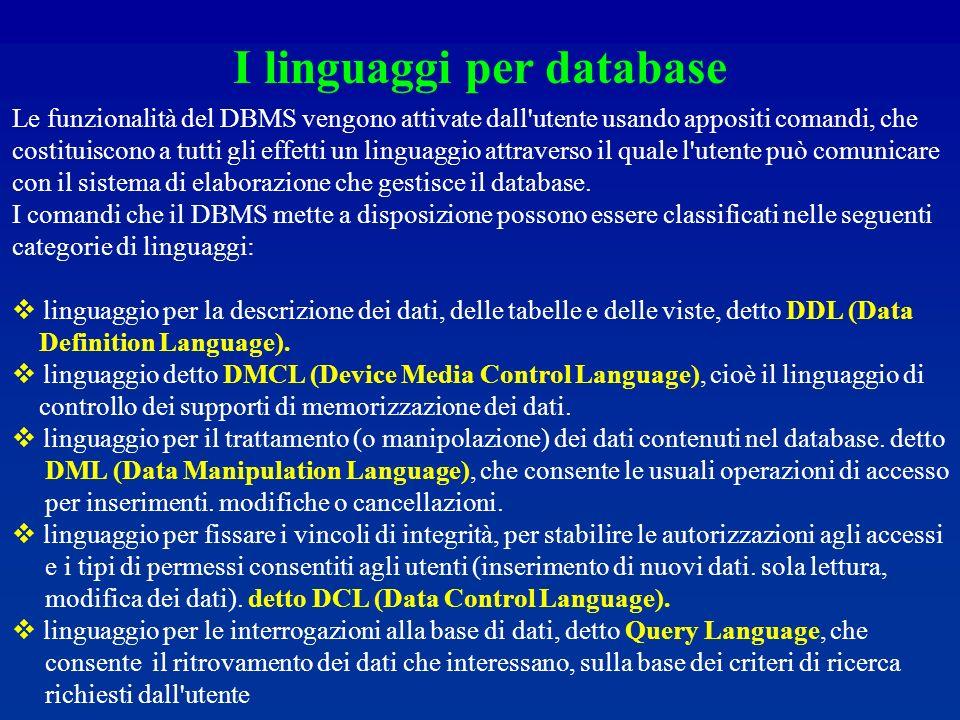 I linguaggi per database Le funzionalità del DBMS vengono attivate dall utente usando appositi comandi, che costituiscono a tutti gli effetti un linguaggio attraverso il quale l utente può comunicare con il sistema di elaborazione che gestisce il database.