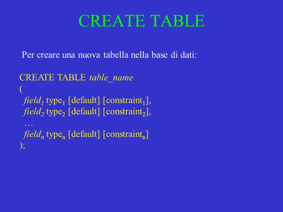 CREATE TABLE CREATE TABLE table_name ( field 1 type 1 [default] [constraint 1 ], field 2 type 2 [default] [constraint 2 ], … field n type n [default]
