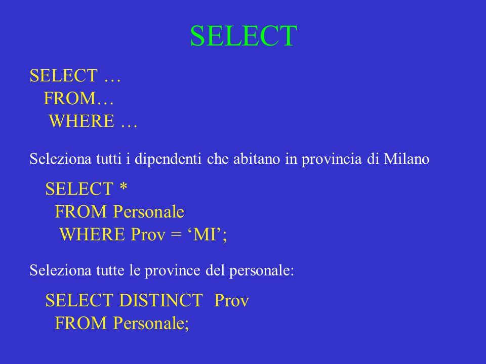 SELECT SELECT … FROM… WHERE … Seleziona tutti i dipendenti che abitano in provincia di Milano SELECT * FROM Personale WHERE Prov = MI; Seleziona tutte le province del personale: SELECT DISTINCT Prov FROM Personale;