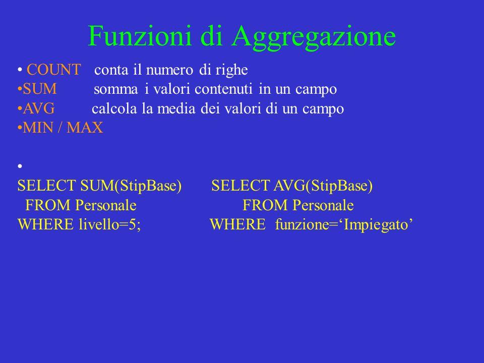 Funzioni di Aggregazione COUNT conta il numero di righe SUM somma i valori contenuti in un campo AVG calcola la media dei valori di un campo MIN / MAX SELECT SUM(StipBase) SELECT AVG(StipBase) FROM Personale FROM Personale WHERE livello=5; WHERE funzione=Impiegato