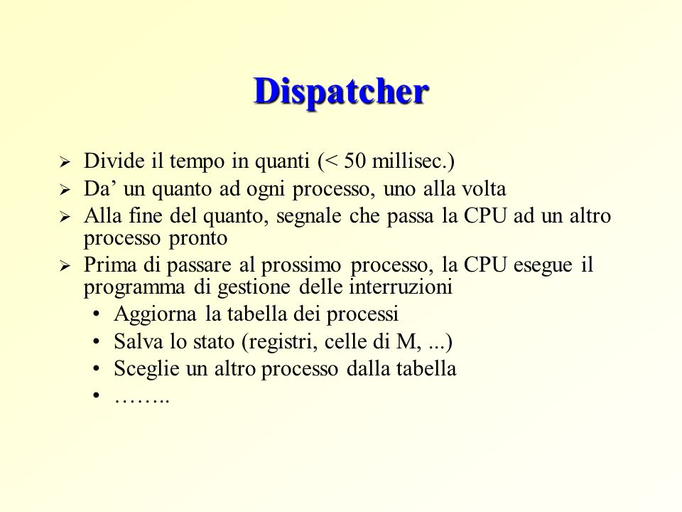 Dispatcher Divide il tempo in quanti (< 50 millisec.) Da un quanto ad ogni processo, uno alla volta Alla fine del quanto, segnale che passa la CPU ad