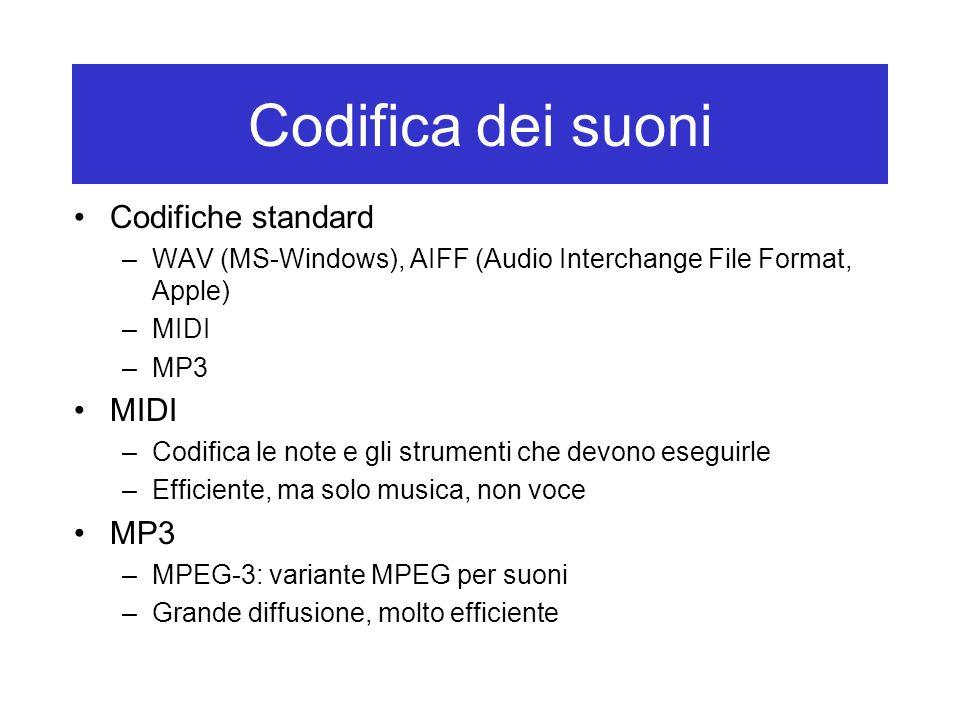 Codifica dei suoni Codifiche standard –WAV (MS-Windows), AIFF (Audio Interchange File Format, Apple) –MIDI –MP3 MIDI –Codifica le note e gli strumenti