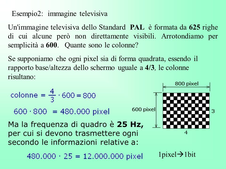 Esempio2: immagine televisiva Un'immagine televisiva dello Standard PAL è formata da 625 righe di cui alcune però non direttamente visibili. Arrotondi
