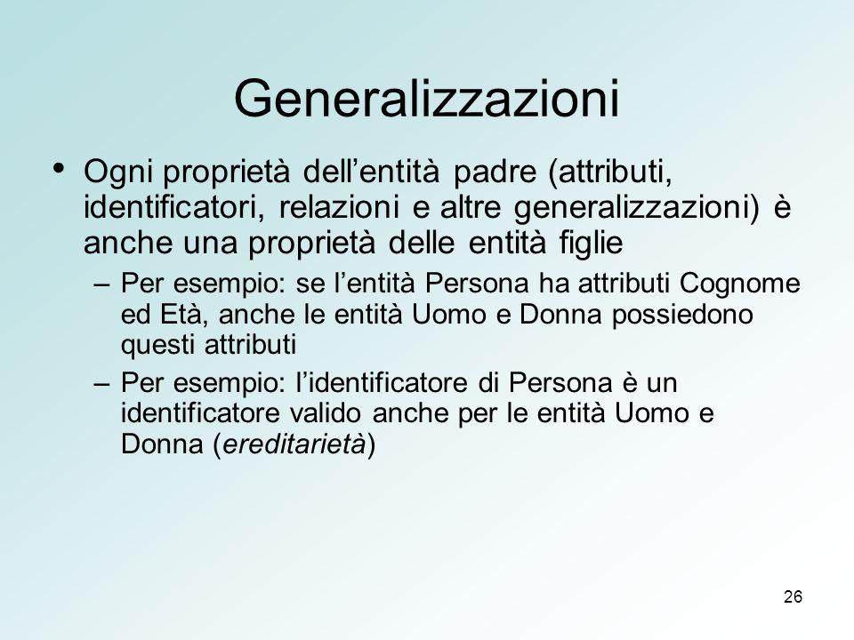 26 Generalizzazioni Ogni proprietà dellentità padre (attributi, identificatori, relazioni e altre generalizzazioni) è anche una proprietà delle entità