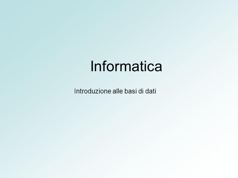 Informatica Introduzione alle basi di dati