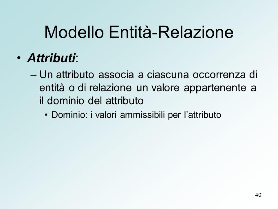 40 Modello Entità-Relazione Attributi: –Un attributo associa a ciascuna occorrenza di entità o di relazione un valore appartenente a il dominio del attributo Dominio: i valori ammissibili per lattributo
