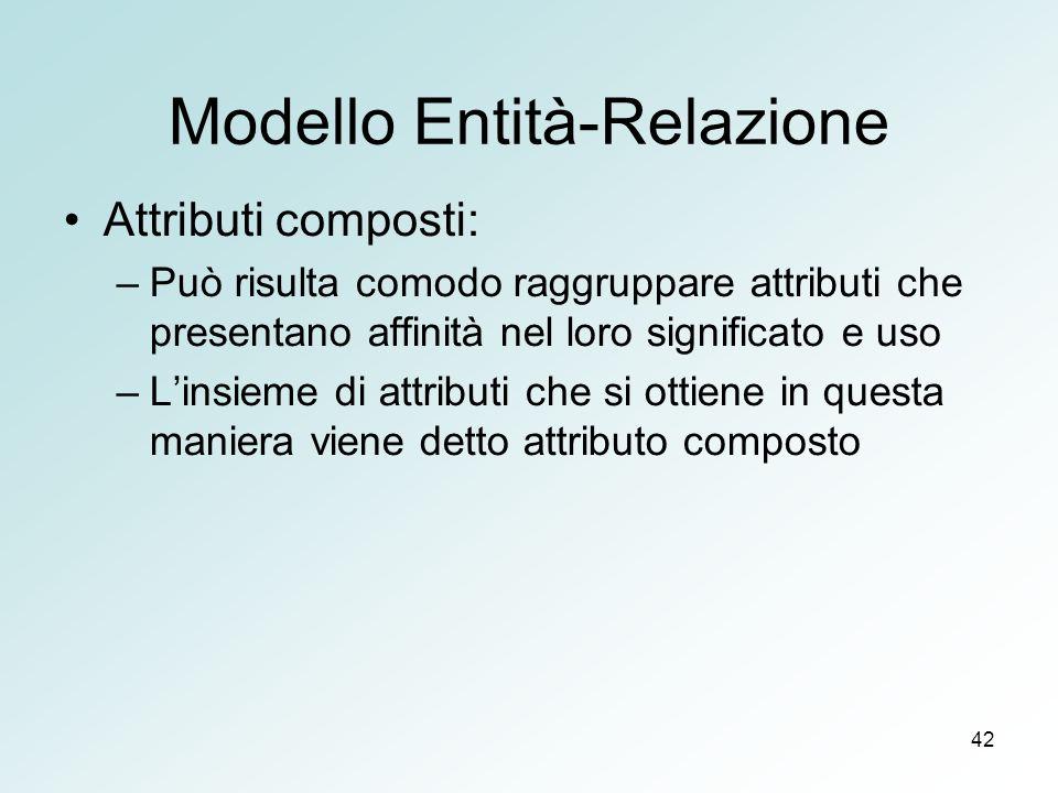 42 Modello Entità-Relazione Attributi composti: –Può risulta comodo raggruppare attributi che presentano affinità nel loro significato e uso –Linsieme di attributi che si ottiene in questa maniera viene detto attributo composto