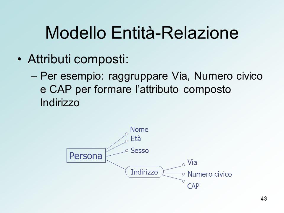 43 Modello Entità-Relazione Attributi composti: –Per esempio: raggruppare Via, Numero civico e CAP per formare lattributo composto Indirizzo Persona V