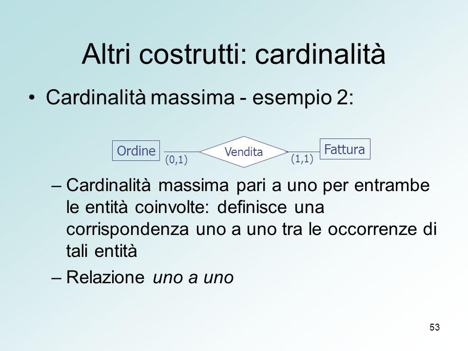 53 Altri costrutti: cardinalità Cardinalità massima - esempio 2: –Cardinalità massima pari a uno per entrambe le entità coinvolte: definisce una corrispondenza uno a uno tra le occorrenze di tali entità –Relazione uno a uno Ordine Fattura Vendita (0,1) (1,1)