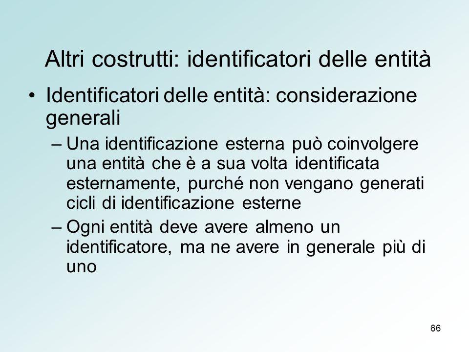 66 Altri costrutti: identificatori delle entità Identificatori delle entità: considerazione generali –Una identificazione esterna può coinvolgere una