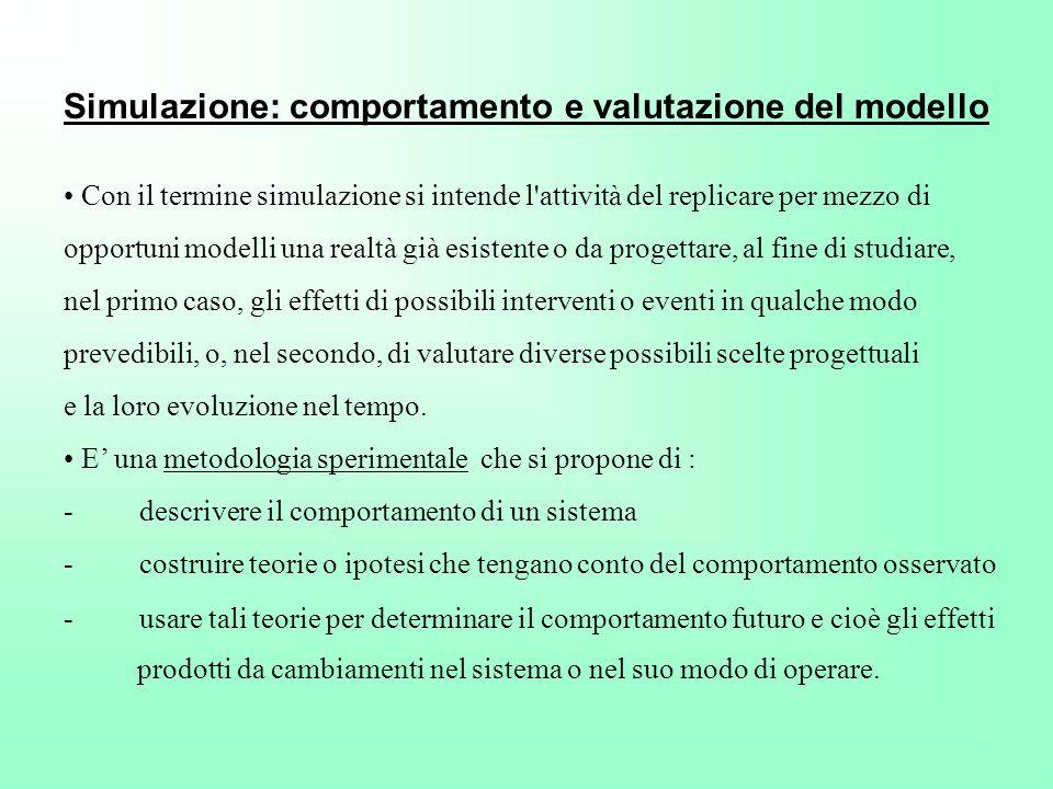 Simulazione: comportamento e valutazione del modello Con il termine simulazione si intende l'attività del replicare per mezzo di opportuni modelli una