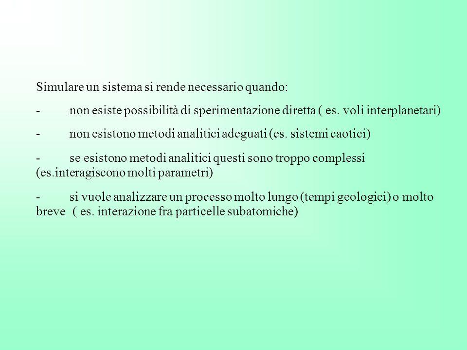 Simulare un sistema si rende necessario quando: - non esiste possibilità di sperimentazione diretta ( es. voli interplanetari) - non esistono metodi a