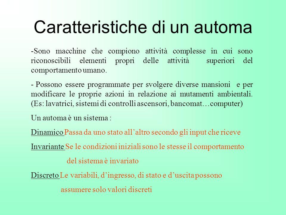 Caratteristiche di un automa -Sono macchine che compiono attività complesse in cui sono riconoscibili elementi propri delle attività superiori del com