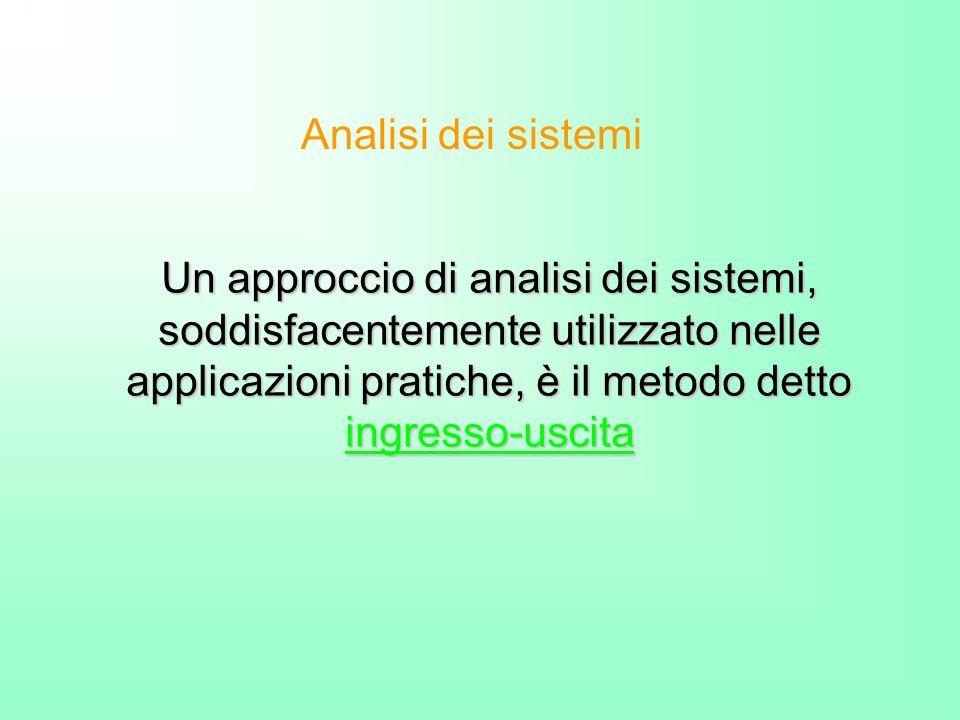 Un approccio di analisi dei sistemi, soddisfacentemente utilizzato nelle applicazioni pratiche, è il metodo detto ingresso-uscita Analisi dei sistemi