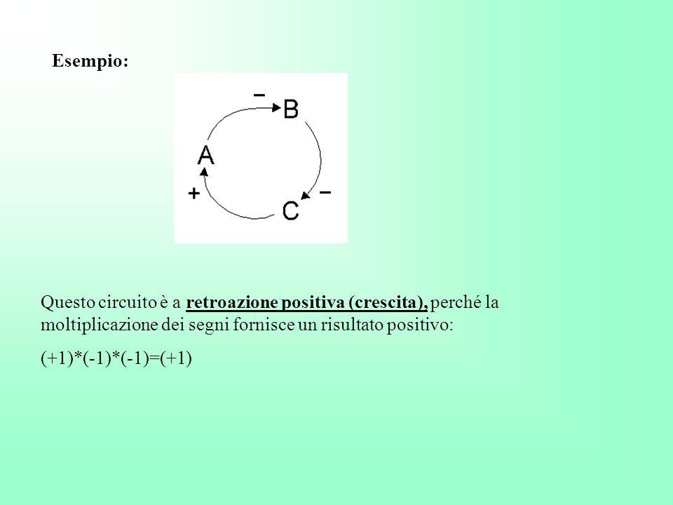 Esempio: Questo circuito è a retroazione positiva (crescita), perché la moltiplicazione dei segni fornisce un risultato positivo: (+1)*(-1)*(-1)=(+1)