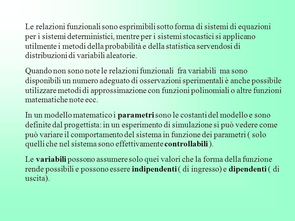 Le relazioni funzionali sono esprimibili sotto forma di sistemi di equazioni per i sistemi deterministici, mentre per i sistemi stocastici si applican