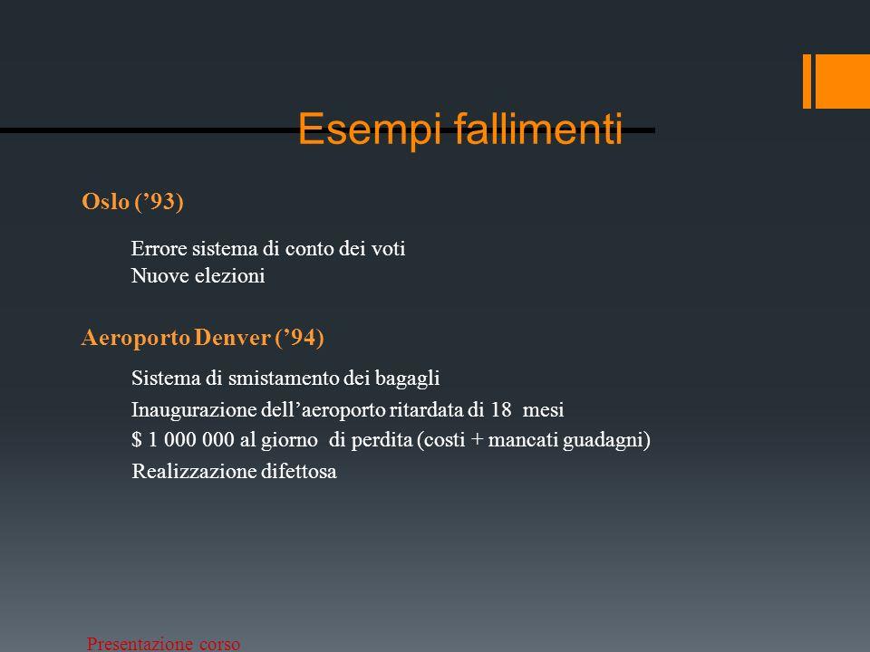 Presentazione corso Esempi fallimenti Ariane V (95) Esplosione in volo – costo di 5,8 Miliardi di Euro Conversione da un numero floating point di 64-bit a signed integer di 16-bit.
