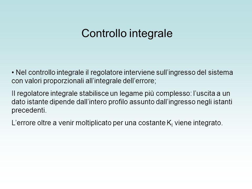 Controllo integrale Nel controllo integrale il regolatore interviene sullingresso del sistema con valori proporzionali allintegrale dellerrore; Il reg