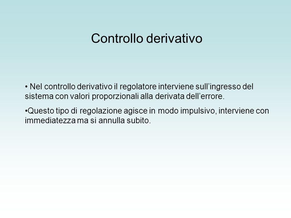 Controllo derivativo Nel controllo derivativo il regolatore interviene sullingresso del sistema con valori proporzionali alla derivata dellerrore. Que