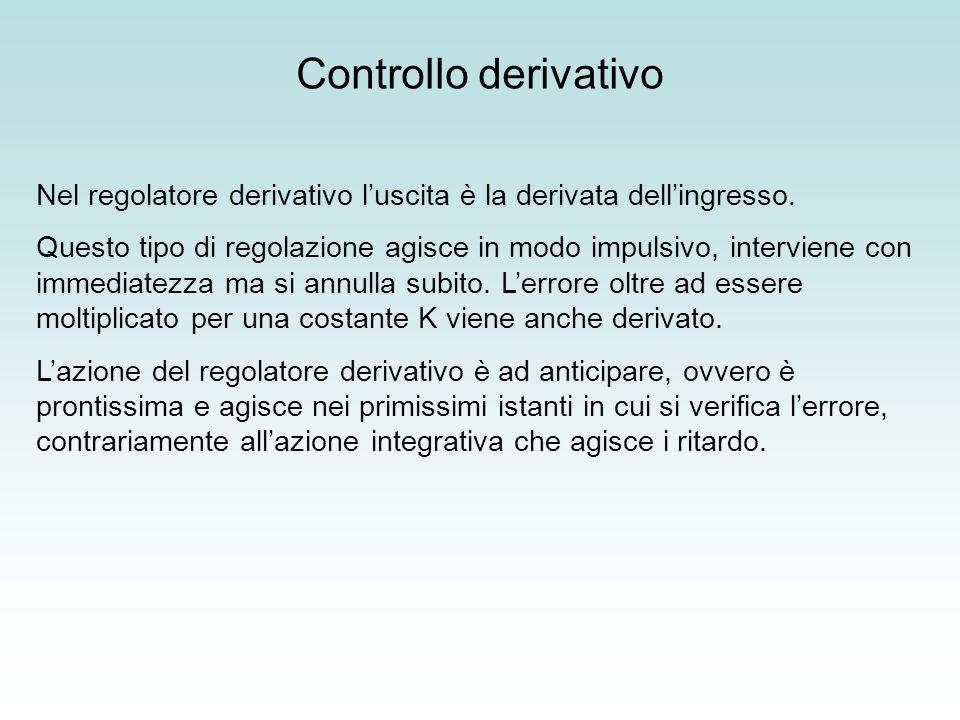 Nel regolatore derivativo luscita è la derivata dellingresso. Questo tipo di regolazione agisce in modo impulsivo, interviene con immediatezza ma si a