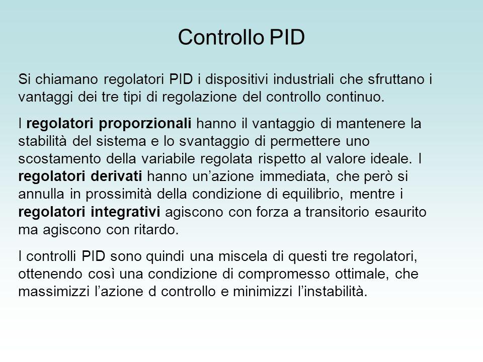 Si chiamano regolatori PID i dispositivi industriali che sfruttano i vantaggi dei tre tipi di regolazione del controllo continuo. I regolatori proporz